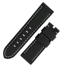 BLACK Calf Leather Watch Strap & ARD or PRE V buckle. Suit Panerai Style watch