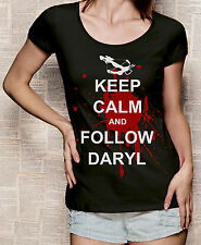 The Walking Dead Damen T-Shirt mit Print Keep Calm Daryl Dixon schwarz S-XL