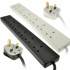 6 Gang Way UK 13A Trailing Socket Mains Power Extension Lead Black , White