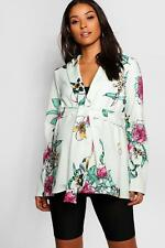 Boohoo Womens Maternity Floral Print Belted Jacket