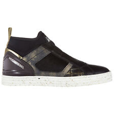 HOGAN REBEL SLIP ON MUJER IN PIEL  SNEAKERS NUOVE ORIGINALI R182 MID CUT NE 482