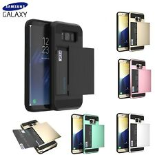 Shockproof Card Holder Hard Wallet Case Cover for Samsung Galaxy S7 Edge S8 S9 +