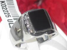 02225  GEN ONYX SIGNET PINKY CUBIC ZIRCONIA CZ AAA  MENS RING STAINLESS STEEL