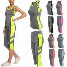 WOMENS SPORTSWEAR YOGA WORKOUT TRACKSUIT FITNESS GYM TANK TOP CAPRI PANTS 2 PC