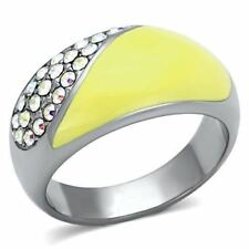 829 RAINBOW AURORA BOREALIS CRYSTALS ENAMEL STAINLESS STEEL HIGH POLISHED RING
