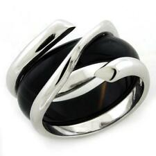 1156 sterling silver band ring onyx black center stamped sale womens RRP £132