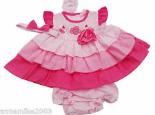 BNWT Baby girls summer pink frilly dress & hairband with gingham rose 6 sizes