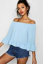 Boohoo Womens Woven Off The Shoulder Frill Sleeve Top