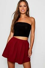 Boohoo Womens Petite Box Pleat Skater Skirt