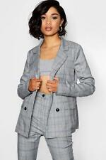 Boohoo Womens Tall Double Breasted Check Blazer
