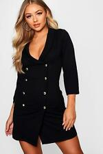 Boohoo Womens Double Breasted Gold Button Blazer Dress