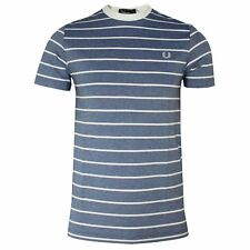 FRED PERRY T SHIRT MENS SUMMER BLUE OXFORD STRIPE CREW NECK TEE