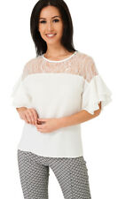 Q42 - Women's Girls White Layered Short Sleeve Lace Blouse Top Tee (4-10)