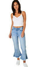 Q54 - Women's / Ladies Light Sky Blue Washed Cropped Fluted Hem Jeans (8-14)