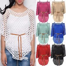 NEW LADIES FISHNET BATWING TOP 2in1 VEST LINED BLOUSE WOMENS BELT TUNIC TWIN SET