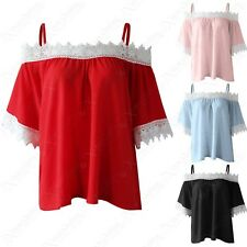 LADIES BARDOT FRILL CROCHET SHORT LACE SLEEVES WOMENS COLD OFF SHOULDER GYPSY