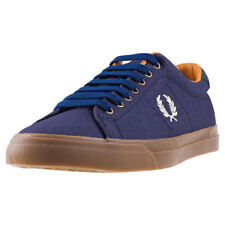 Fred Perry Underspin Heavy Waxed Mens Midnight Navy Canvas Trainers
