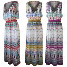 WOMENS EMBELLISHED BEADED NECK AZTEC PRINT MAXI DRESS LADIES LONG SUMMER HOLIDAY