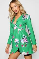 Boohoo Womens Floral Double Breasted Blazer Dress