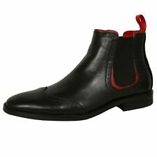 AZOR SHOES CAESAR MENS BLACK LEATHER CHELSEA BOOTS