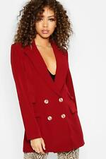 Boohoo Womens Leah Double Pockets Double Breasted Blazer