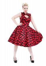 H&R LONDON BLACK RED SWEETHEART HEART COCKTAIL HALTER 50s PINUP VINTAGE DRESS
