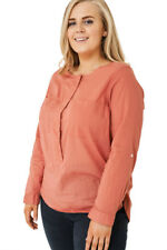 Q39 - Women's Ladies Pink Long Sleeve Collarless Popover Shirt Top (16-26)