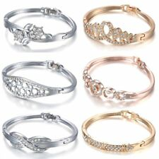 Fashion Crystal Cuff Bracelet Bangle Womens Lady Wedding Party Jewellery Gift