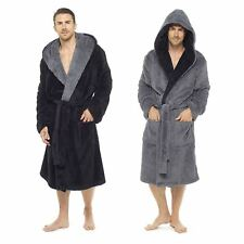 Mens Shaggy Fleece Hooded Dressing Gown Robe Size - M-XXL Winter Warm Cosy 5557a3967