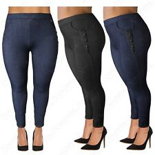 PLUS SIZE LADIES HIGH WAIST PU BUTTONS LEGGINGS WOMEN JEGGINGS DENIM JEAN LOOK