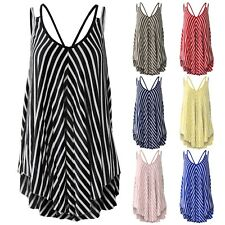 LADIES BACK STRAP STRIPED PRINT JERSEY VEST WOMENS SWING A-LINE SLEEVELESS TOP