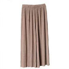 Pleated Linen Pants Women High Waist Chiffon Wide Leg Trouser Summer Casual Wear