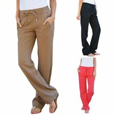 Linen Pants Elastic Waist Loose Candy Colored Trousers Women Clothing Drawstring