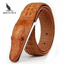 Crocodile Head Belt Genuine Men Leather Fashion Strap Adjustable Buckle Aligator