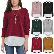 NEW LADIES TEXTURED KNIT 2in1 LOOK JUMPER NECKLACE WOMENS HI LO SHIRT INSERT TOP