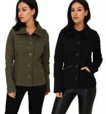 P79 - Women's Ladies Long Sleeve Button Up Military Cargo Jacket Coat (4-10)