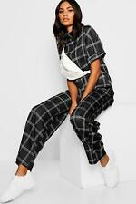 Boohoo Womens Checked Top + Wide Leg Trouser Co-Ord