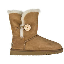 UGG STIVALETTI WOMEN'S SUEDE BOOTS BAILEY BUTTON BROWN BFF