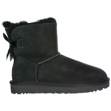 UGG WOMEN'S SUEDE BOOTS NEW MINI BAILEY BOW  II BLACK FF3