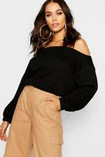 Boohoo Womens Slouchy Off The Shoulder Crop Sweat
