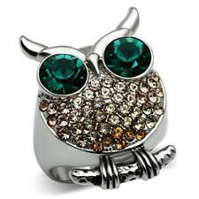 656 owl simulated diamond ring emerald green champagne animal  stainless steel