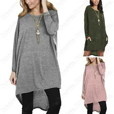 Femmes Marne Tricot Collier Robe Pull Poches Femme Surdimensionné