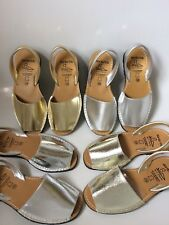 Silver/Gold Leather Menorcan Avarca Beach Sandals for Summer Hols.Made in Spain