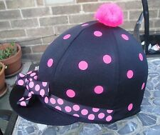 RIDING Hat Silk Skull cap Cover BLACK * PINK SPOTS & RIBBON With OR w/o Pompom