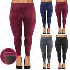 WOMENS PLUS SIZE WARM FUR FLEECE LINED VELVET LEGGINGS LADIES VELOUR STRETCHY