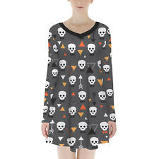 Geometric Skulls Velvet Longsleeve Dress