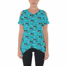 Fish Waves Cold Shoulder Tunic Top
