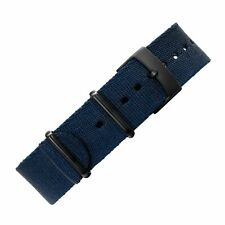 Premium Thick NATO Watch Strap in NAVY BLUE with Black PVD Steel Hardware
