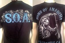 Auténtico Sons Of Anarchy Azul Tonos Segador Samcro Motero Chopper Camiseta