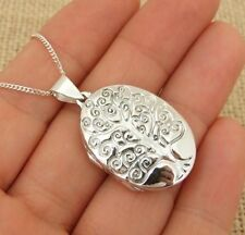 925 Sterling Silver Oval Tree of Life Photo Locket Pendant Necklace